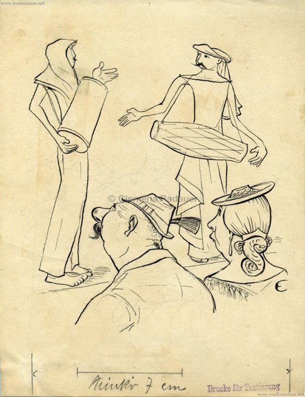 1930er Karikatur Eugen Croissant - Indische Musiker VS