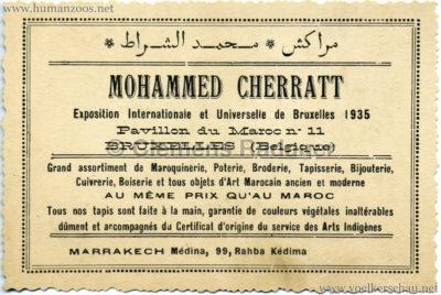 1935 Exposition de Bruxelles - Mohammed Cherratt Visitenkarte