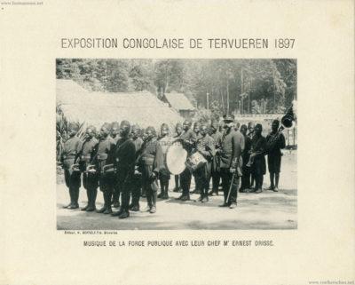 1897 Exposition Congolaise de Tervueren - Musique de la Force Publique avec leur Chef M. Ernest Drisse