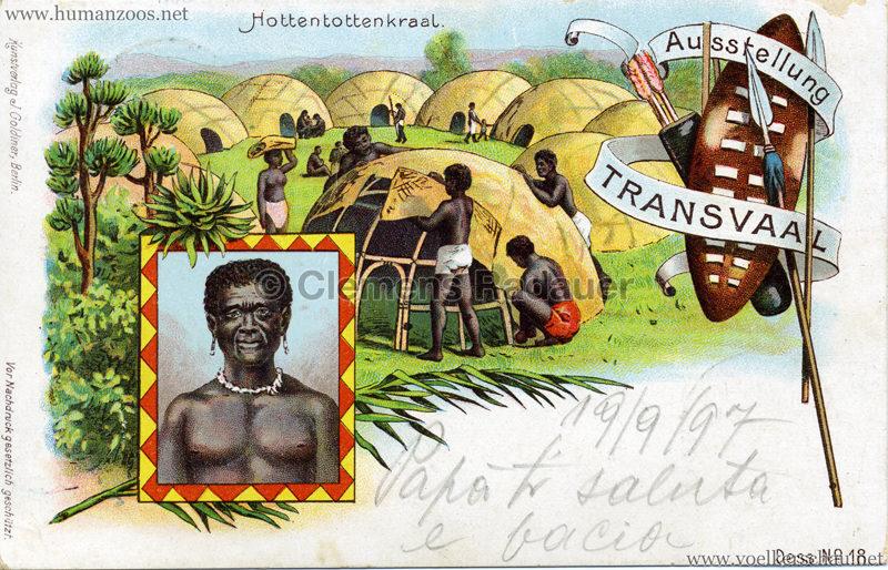 1897 Transvaal Ausstellung Berlin - 18. Hottentottenkraal gel. 19.09.1897
