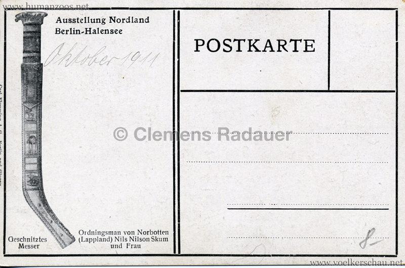 1911 Ausstellung Nordland, Berlin-Halensee - Ordningsman von Norbotten Nil Nilsn Skum und Frau RS