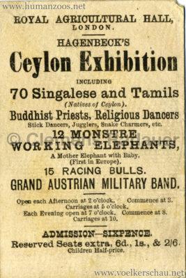 1886 Carl Hagenbeck's Ceylonese Exhibition WERBEKARTE VS