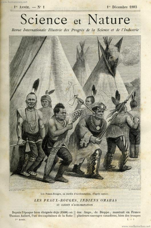 1883.12.01 Science et Nature No 1 - Les Peaux Rouges, Indiens Omahas au Jardin d'Acclimatation S. 1