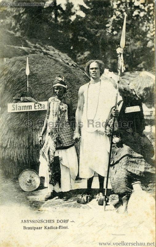 1905 - Jubiläumsausstellung Oldenburg - Abyssinisches Dorf 4 - Brautpaar Kadica-Eimi gel. 07.09.1905