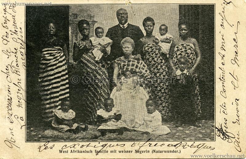 West Afrikanisch Familie mit weisser Negerin (Naturwunder) gel. 14.01.1909 VS