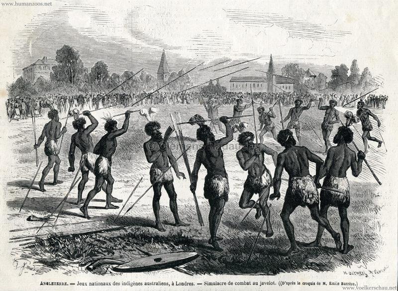 1868 Le Monde Illustre N°586 - Angleterre, Jeux Nationaux Des Indigènes Australiens, À Londres - Simulacre De Combat Au Javelot