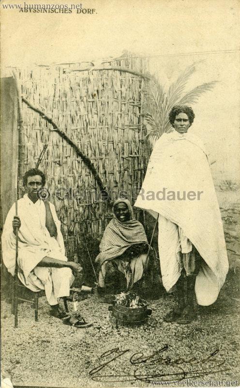 1905:1906 Abyssinisches Dorf - Zwei Männer eine Frau gel 1905 NDL