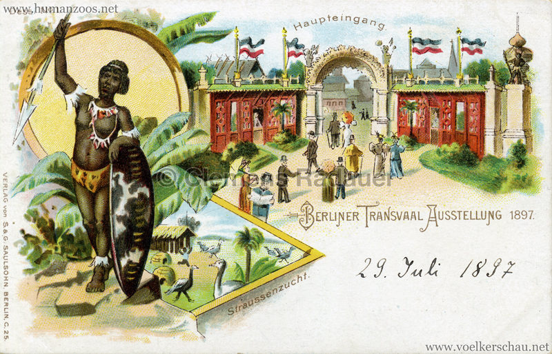 1897 Transvaal Ausstellung Berlin - 1. Haupteingang Straussenzucht