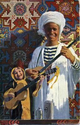 1910 Muhamedanische Ausstellung München - Müchner Kindl am Oktoberfest:Hofbräuhauskrügen