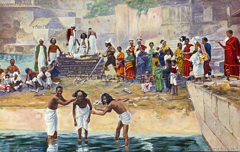 1910:1911:1912 Gustav Hagenbeck's grösste indische Völkerschau der Welt - Badeszene coloriert VS