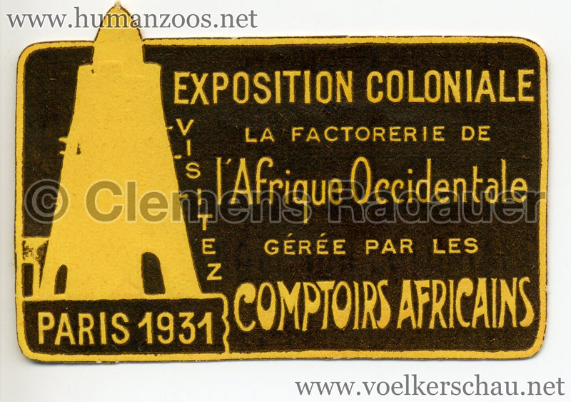 1931 Exposition Coloniale Internationale Paris - Comptoirs Africains STAMP