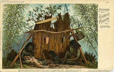 Museum für Völkerkunde zu Leipzig - Australische Familie am Lagerfeuer. Queensland