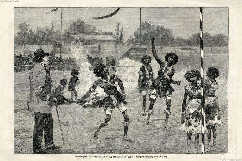 1884.07.26. Illustrirte Zeitung No 2143 - Bumerangwerfende Australneger in der Hasenheide zu Berlin 1