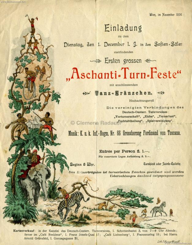 1896 Aschanti-Turnfest Sofien-Säle