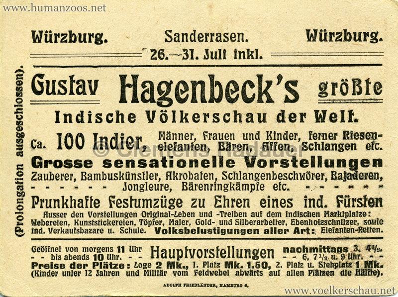 1910/1911/1912 Gustav Hagenbeck's größte Indische Völkerschau der Welt FLYER