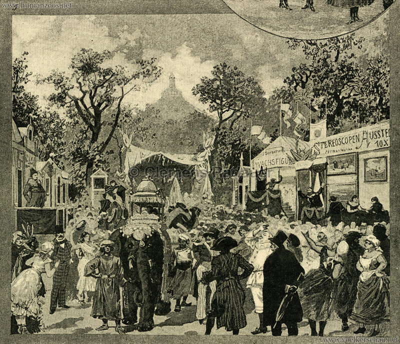 1886 Neue Illusrtirte Zeitung 1 Band No 20 S. 333 - Singhalesen-Karawane im Prater Detail
