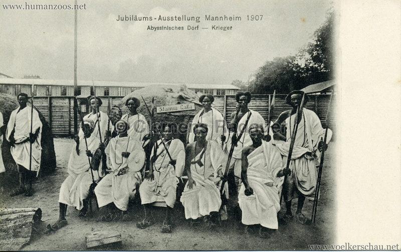 1907 Jubiläumsausstellung Mannheim - Abyssinisches Dorf - Krieger 2 VS