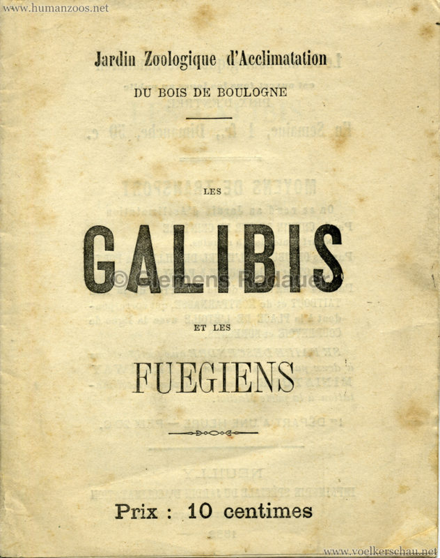 1882 Galibis (Caraibes) Jardin d'acclimatation PROGRAMMHEFT 1