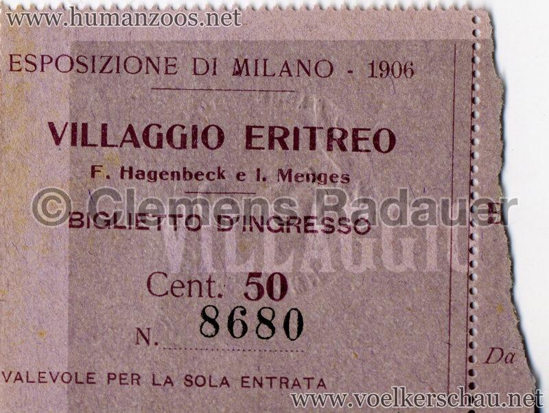 1906 Esposizione - Villaggio Eritreo EINTRITTSKARTE