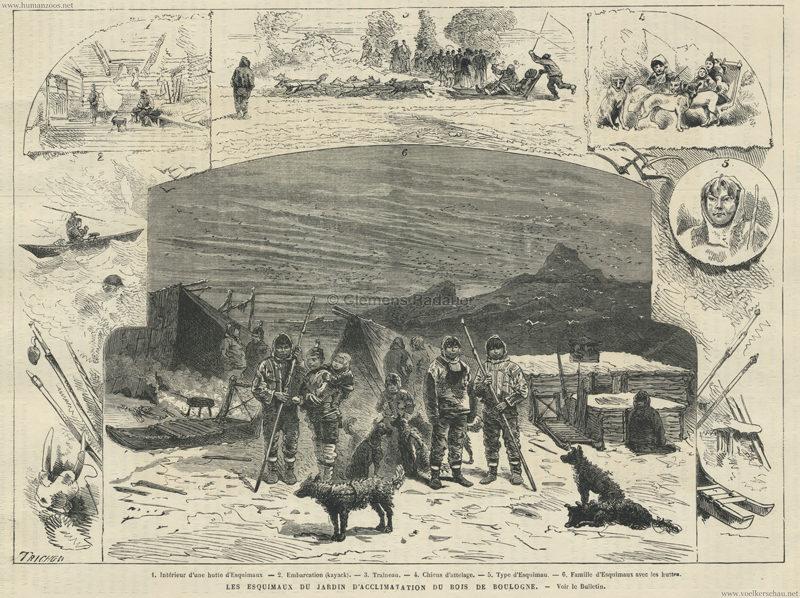 1877 L'Univers Illustré - Les Esquimaux du Jardin d'Acclimatation S.709