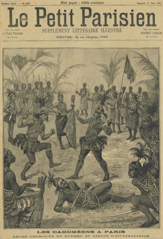 1891.03.01 Le Petit Parisien - Les Dahoméens à Paris, leurs exercices de guerre au jardin d'acclimatation