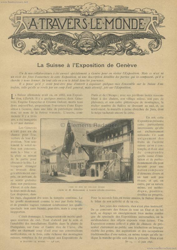 1896 A Travers le Monde - La Suisse à l'exposition de Genève 1