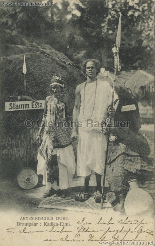 1905 Jubiläumsausstellung Oldenburg - Abyssinisches Dorf 4 - Brautpaar Kadica-Eimi gel. 19.08.1905