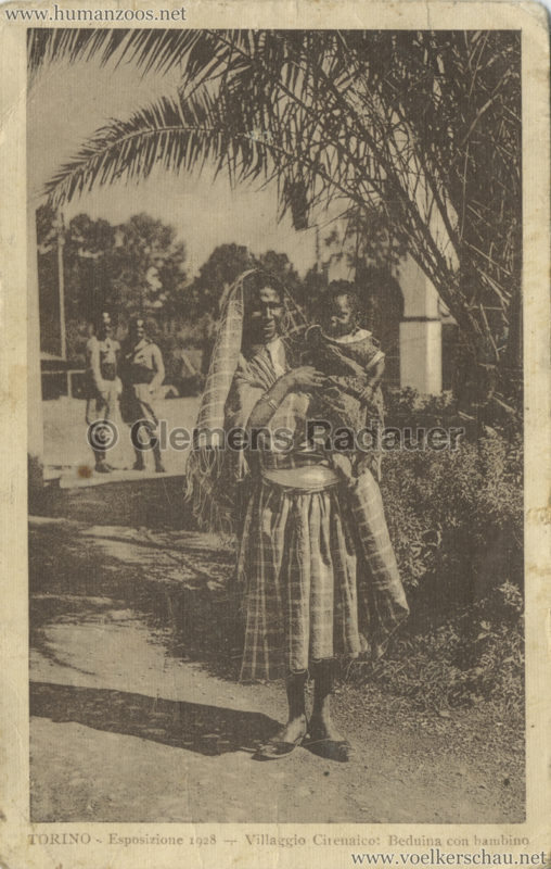 1928 Esposizione Torino - Villaggio Cirencaico Beduina con bambino