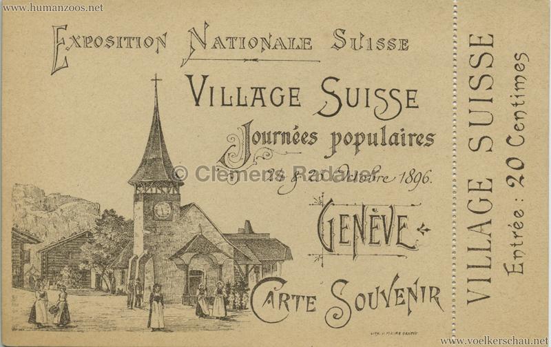 1896 L'Exposition Nationale Suisse Geneve - Village Suisse TICKET