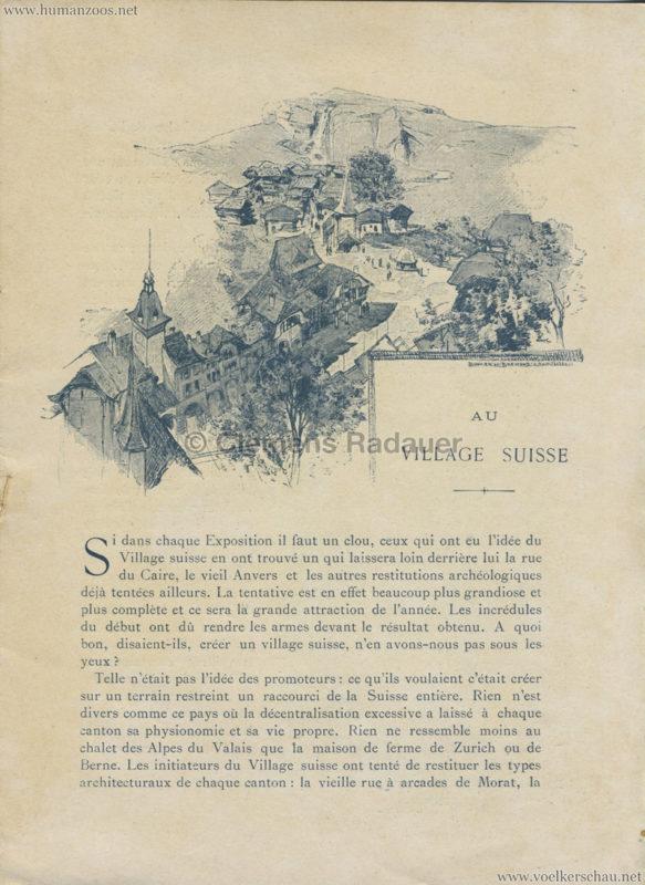 1896 L'Exposition Nationale Suisse Geneve PROGRAMM - Village Suisse 1