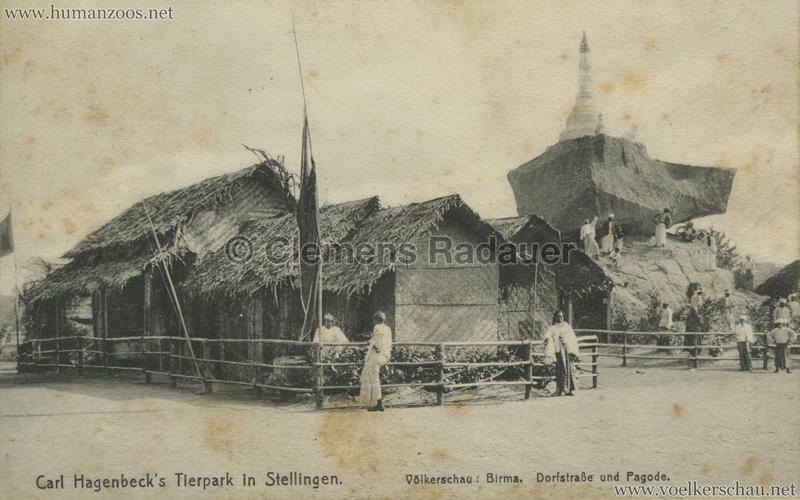 1913 Völkerschau Birma (Hagenbeck) - Dorfstrasse und Pagode