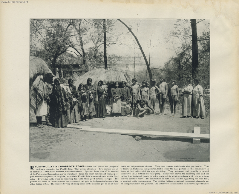 1904 St. Louis World's Fair - Receiving day at Igorrote town