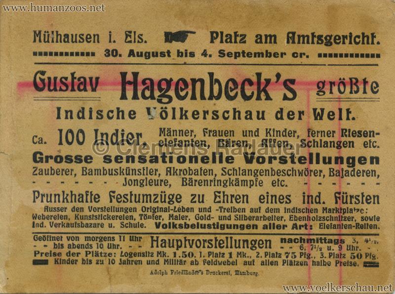 1910:1911:1912 Gustav Hagenbeck's größte Indische Völkerschau der Welt FLYER Mühlhausen 1 RS