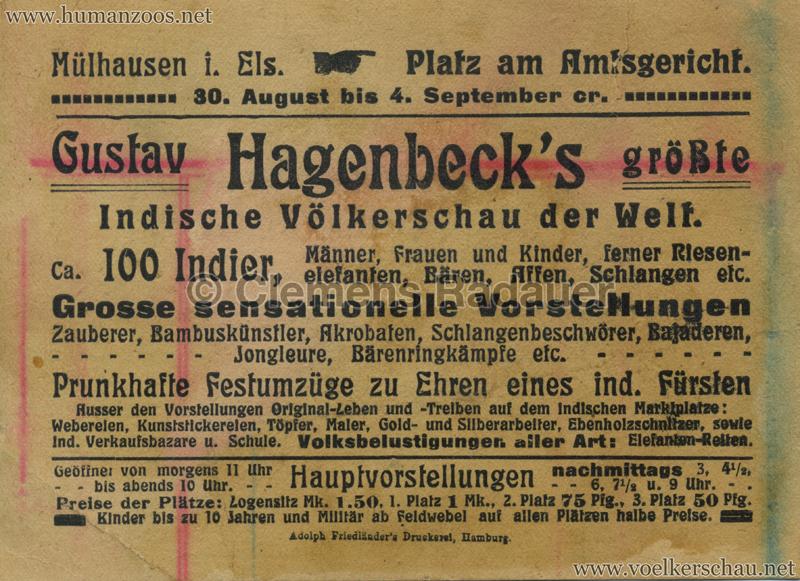 1910:1911:1912 Gustav Hagenbeck's größte Indische Völkerschau der Welt FLYER Mühlhausen 2 RS