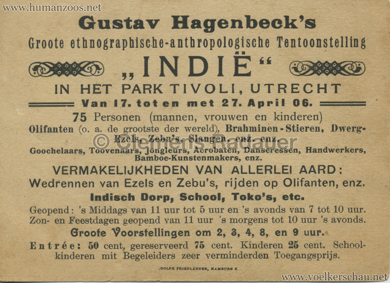 1906 Gustav Hagenbeck. Groote indische Tentoonstelling FLYER RS