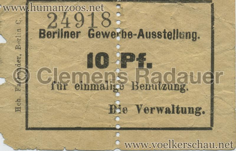 1896 Berliner Gewerbe-Ausstellung 10 Pf EINTRITTSKARTE
