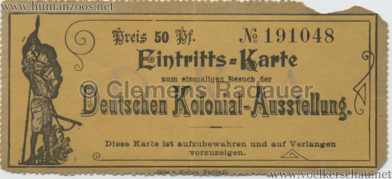 1896 Berliner Gewerbe-Ausstellung 50 Pf Deutsche Kolonial-Ausstellung EINTRITTSKARTE