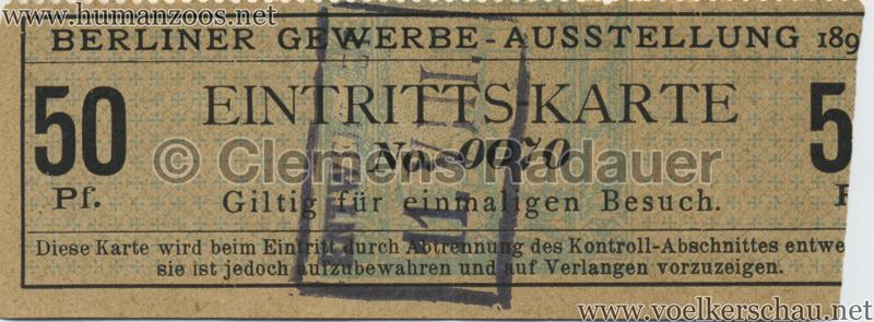 1896 Berliner Gewerbe-Ausstellung 50 Pf EINTRITTSKARTE 1