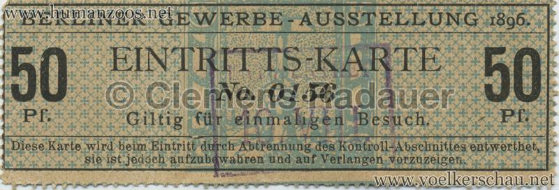 1896 Berliner Gewerbe-Ausstellung 50 Pf EINTRITTSKARTE 2