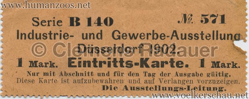 1902 Industrie- & Gewerbeausstellung Düsseldorf 1 Mark EINTRITTSKARTE