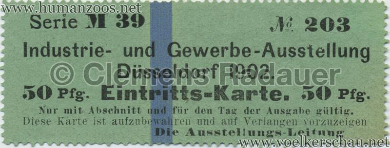1902 Industrie- & Gewerbeausstellung Düsseldorf 50 Pf EINTRITTSKARTE