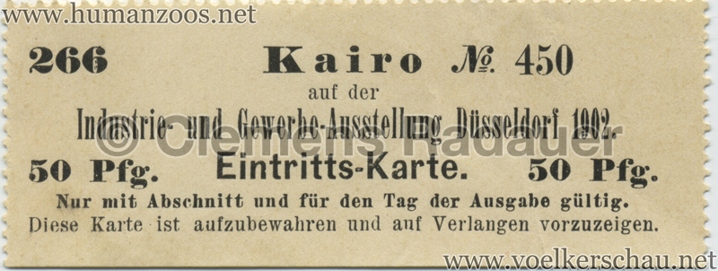 1902 Industrie- & Gewerbeausstellung Düsseldorf Kairo 50 Pf EINTRITTSKARTE 1
