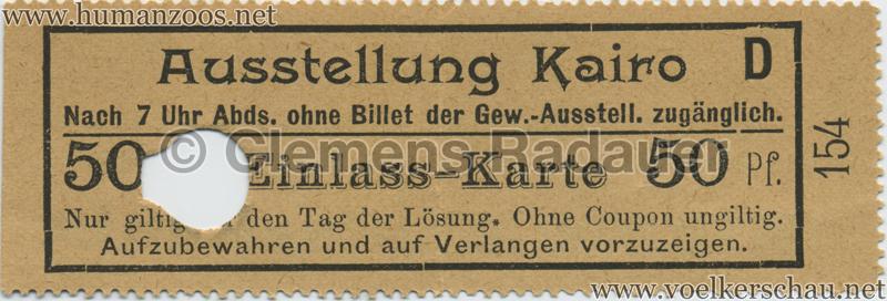 1902 Industrie- & Gewerbeausstellung Düsseldorf Kairo 50 Pf EINTRITTSKARTE 2
