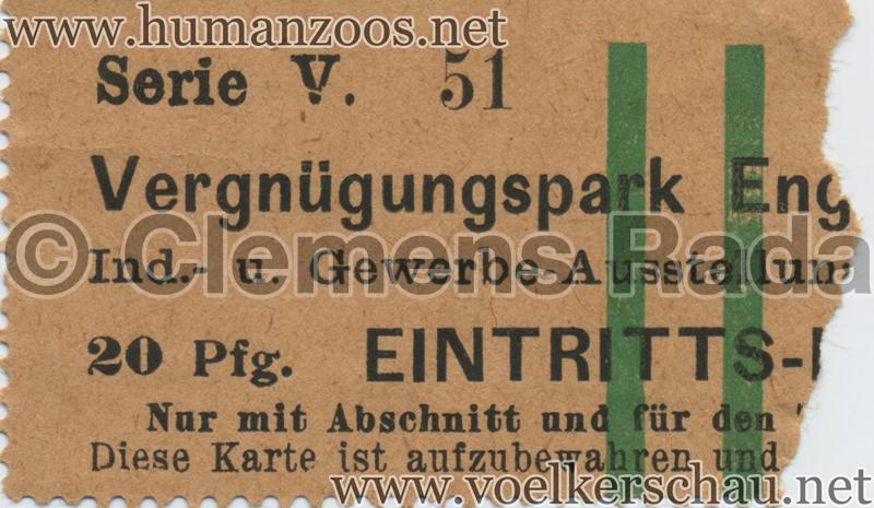 1902 Industrie- & Gewerbeausstellung Düsseldorf Vergnügungspark 20 Pf EINTRITTSKARTE