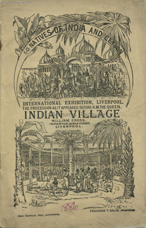 1886 International Exhibition Liverpool - Indian Village PROGRAMM 1